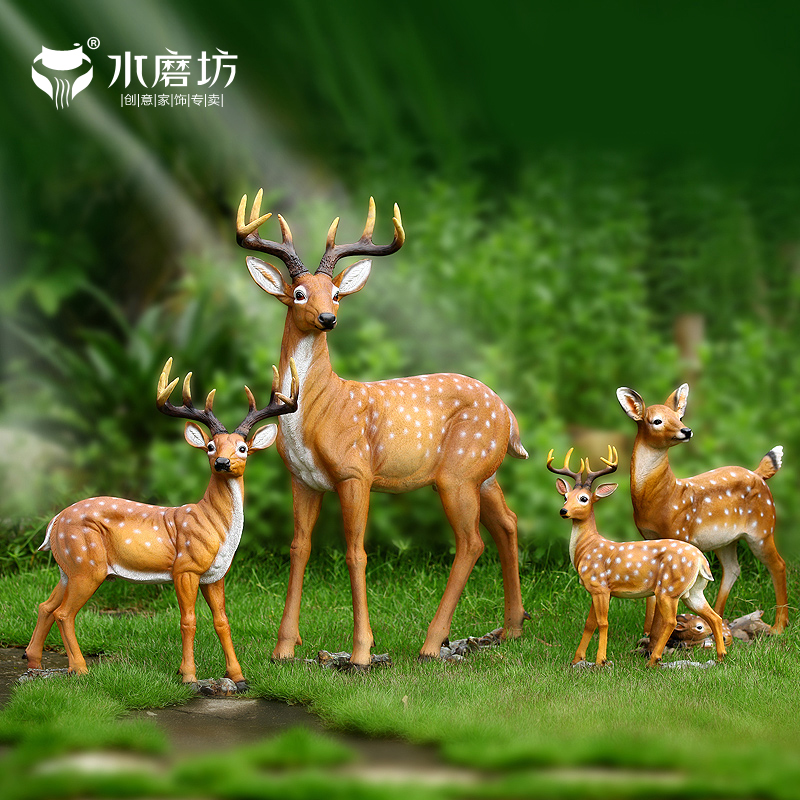 Water mill simulation animal deer resin garden wedding decoration living room at home ornaments opening gifts