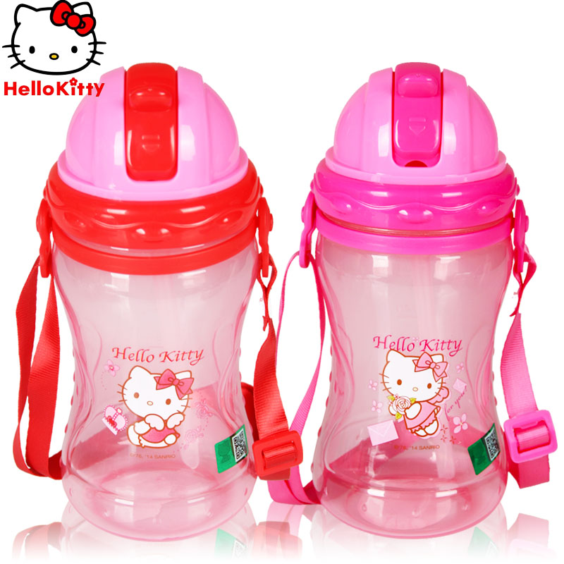 Watercups children girls hello kitty cat child cup drinking cup with strap summer anti baby straw cup portable leak