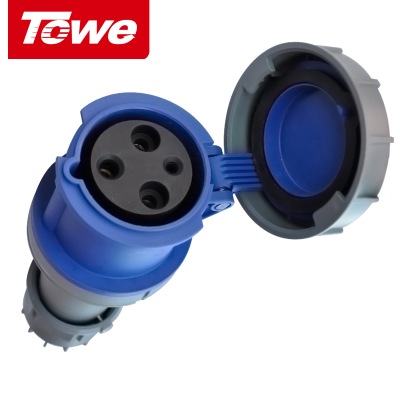 Waterproof and dustproof industrial plug and socket 63a industrial connector connector 3 core 2 p + e female head