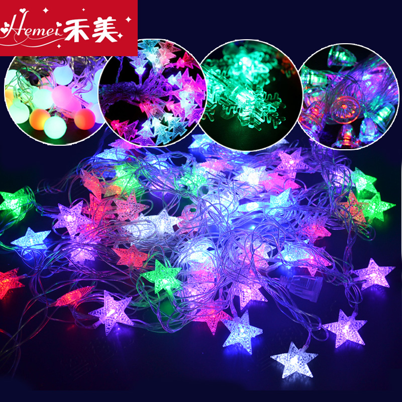 Waterproof led lantern string lights flashing christmas lights wedding new year decorative lights holiday lights string lights neon stars
