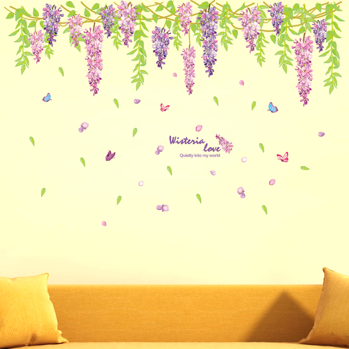 Waterproof wall stickers stickers living room sofa tv background wall decorative ceiling ceiling waistline stickers purple wisteria