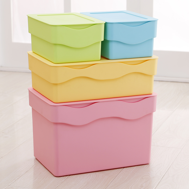 Wave pattern plastic storage box covered storage box finishing stackable storage box sealed with storage box