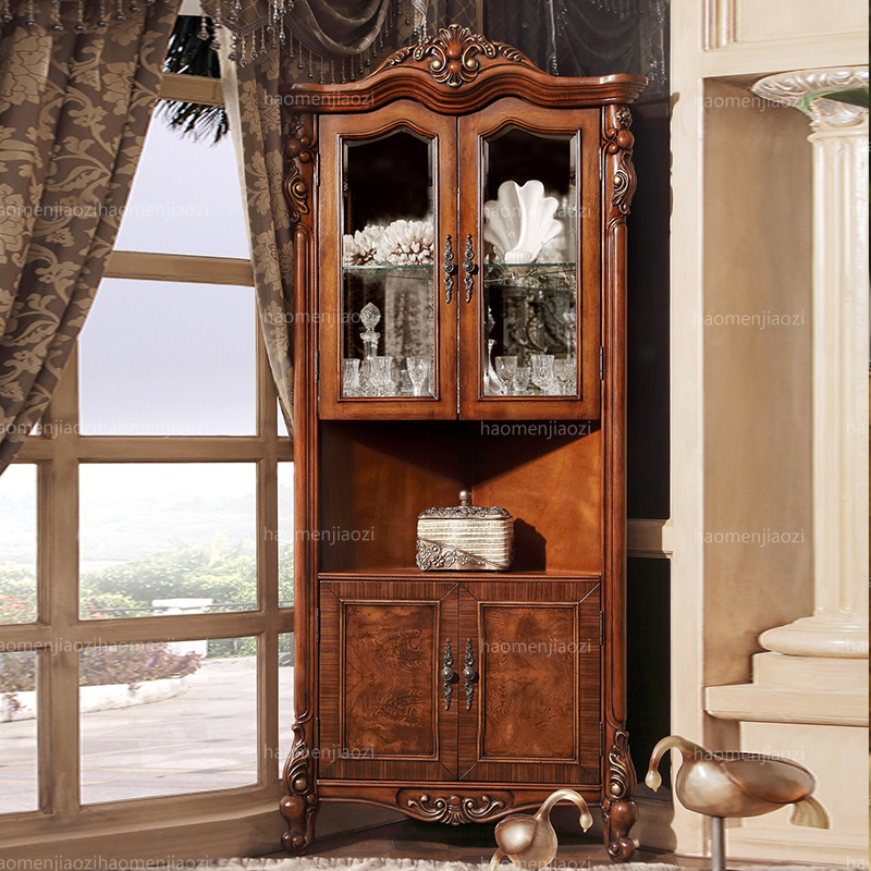 Wealthy family pride euclidian two door glass wine cabinet american wood foyer living room corner cabinet corner cabinet storage cabinets
