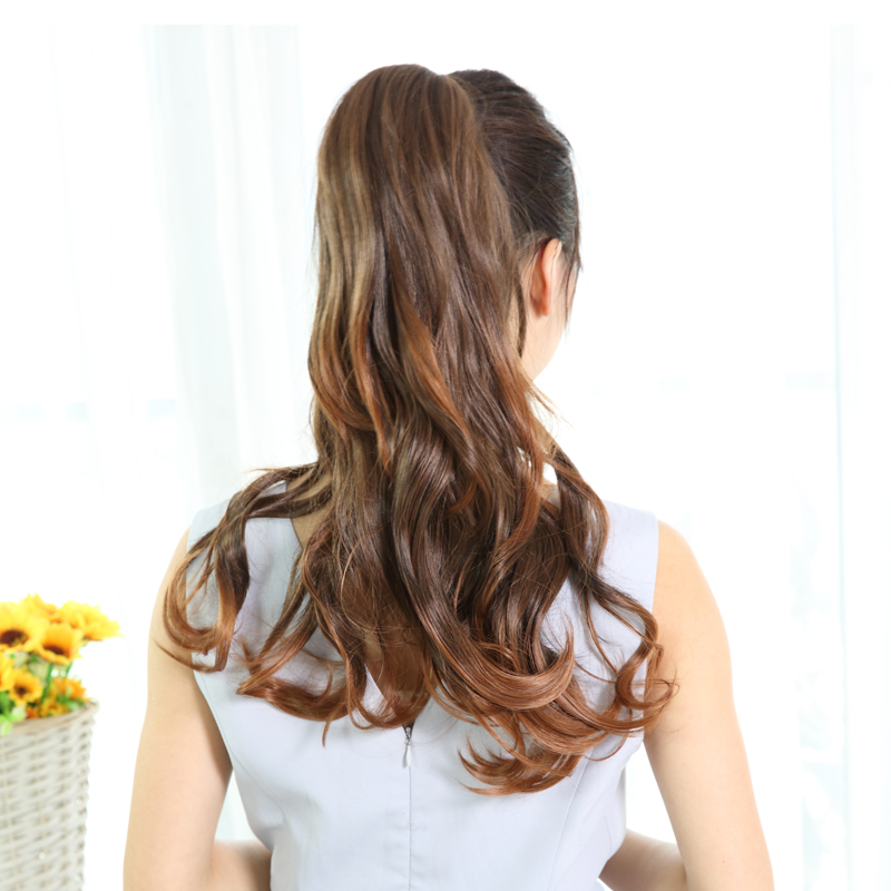 Wearing a hair caught imported silk matte ponytail ponytail wig hair piece hair volume ponytail wig ponytail strap style