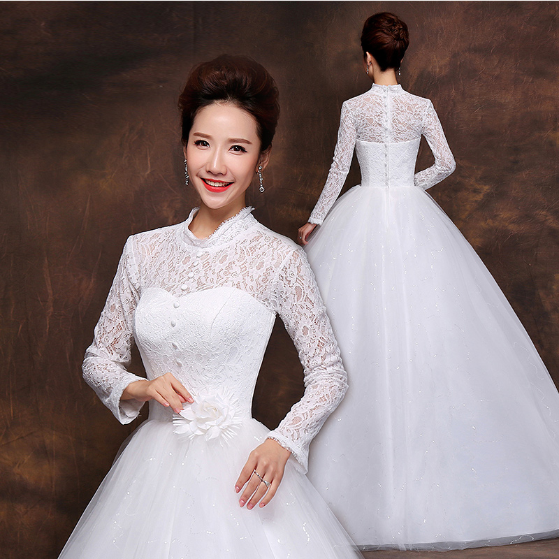 Wedding dress 2015 new winter thick winter long sleeve bride wedding dress qi defenses of warm autumn and winter wedding dresses