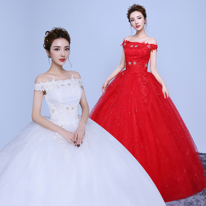 Wedding dress 2016 new big red wedding dress qi word shoulder wedding dress qi xiu body was thin tutu Skirt