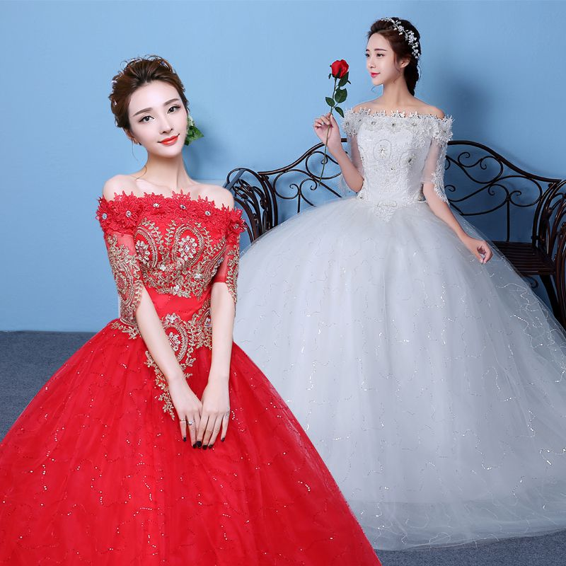 Wedding dress 2016 new big red wedding korean qi word shoulder wedding dress tutu skirt slim was thin