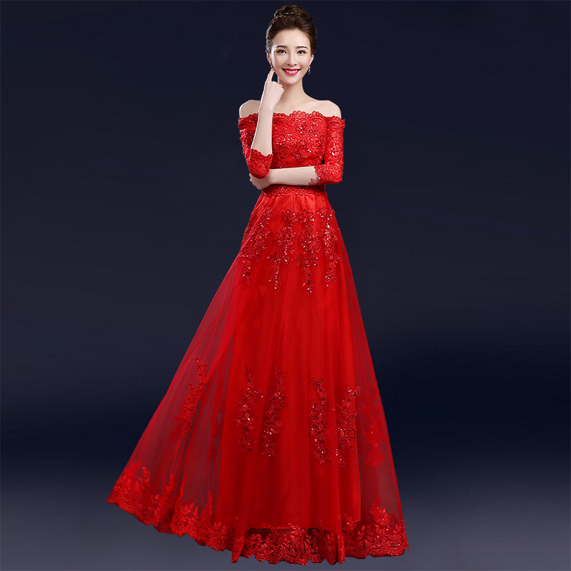Wedding dress 2016 new korean yards pregnant women dress was thin toast the bride word shoulder red long section of the sleeve