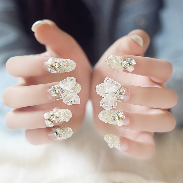 Get Quotations Wedding Photography Finished Fake Nails Nail Silver Lace Big Bow False Patch A Piece Of