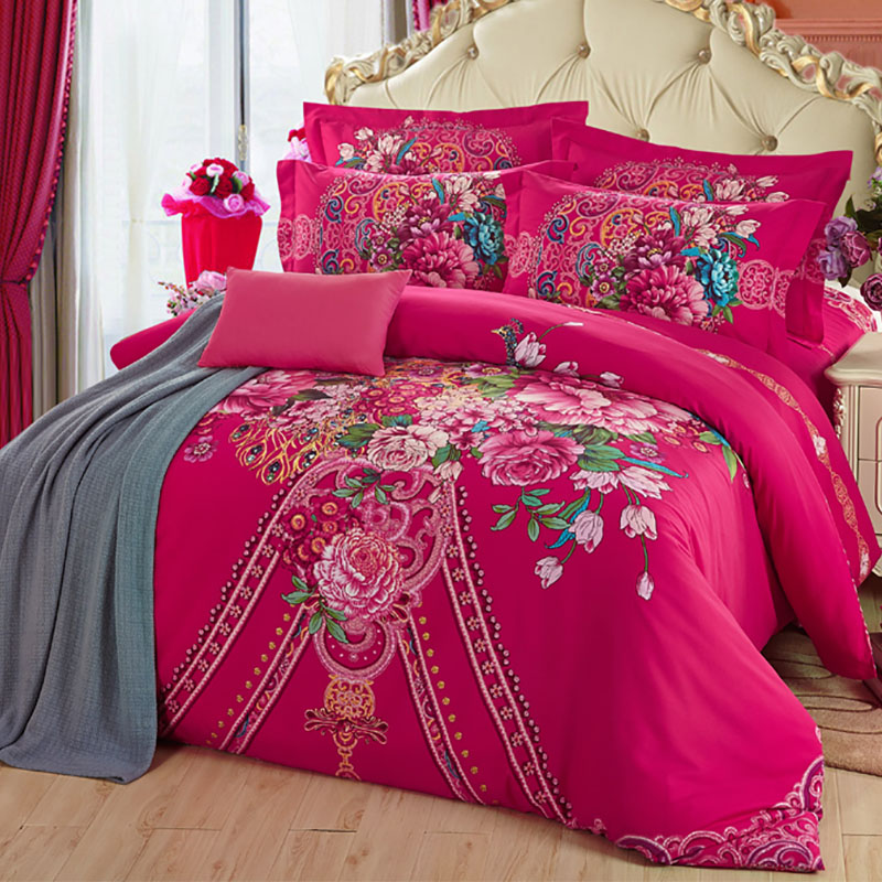 Wedding red denim style sheets quilt bedding sanding four sets of full m bed of autumn and winter thick cotton