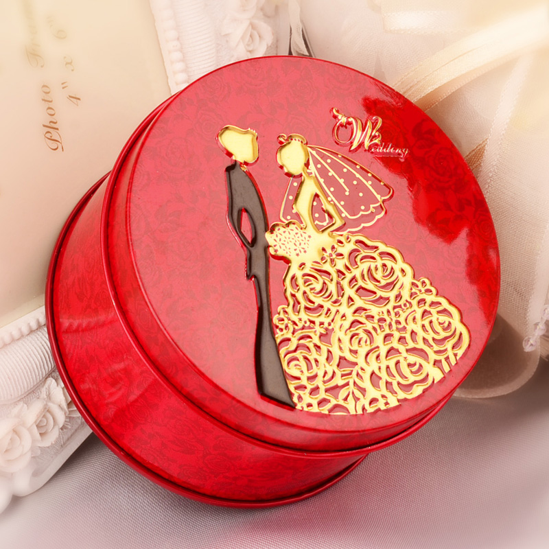 Wedding supplies candy tin candy box round tin candy box wedding wedding candy box red