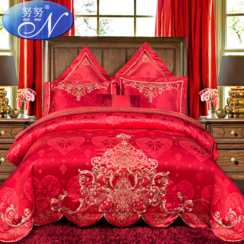 Wedding wedding bedding a family of four red embroidered cotton satin jacquard denim wedding liu jiantao cotton bed cover bed skirt