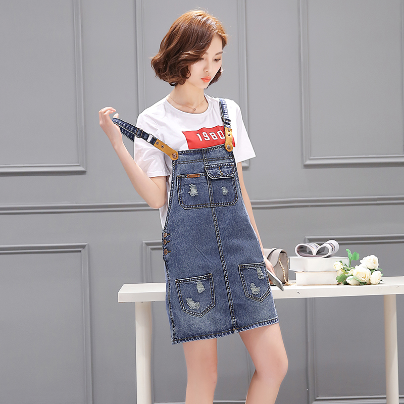 Week in and week wind color loose denim strap dress strap dress female 2016 summer korean yards student dress suit