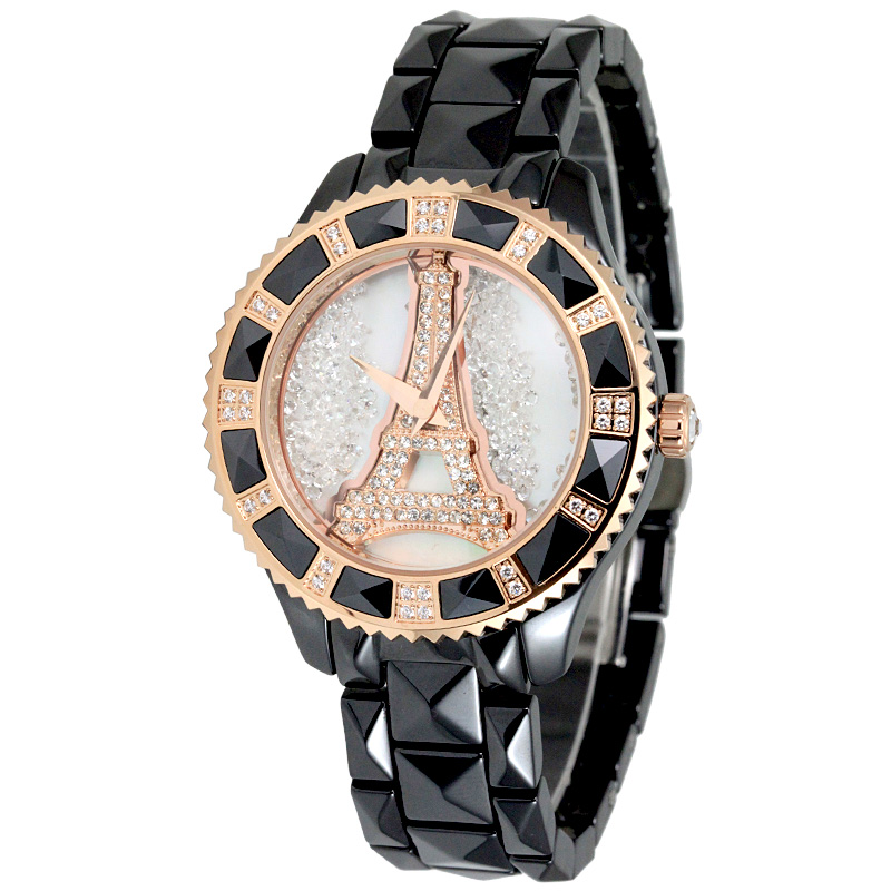 Wei di na genuine wear waterproof ceramic watches diamond ladies watch ladies watches eiffel tower flow sand influx of fashion table 60269