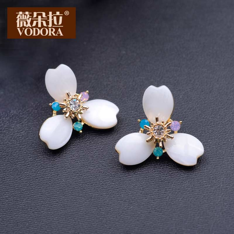 Weiduo la korean jewelry diamond flower earrings earrings earrings korean fashion earrings earrings exaggerated temperament shell accessories
