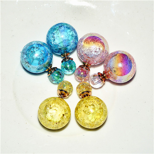 Well decorated korean crack sided size front and rear glass ball earrings earrings simple earrings earrings female ball