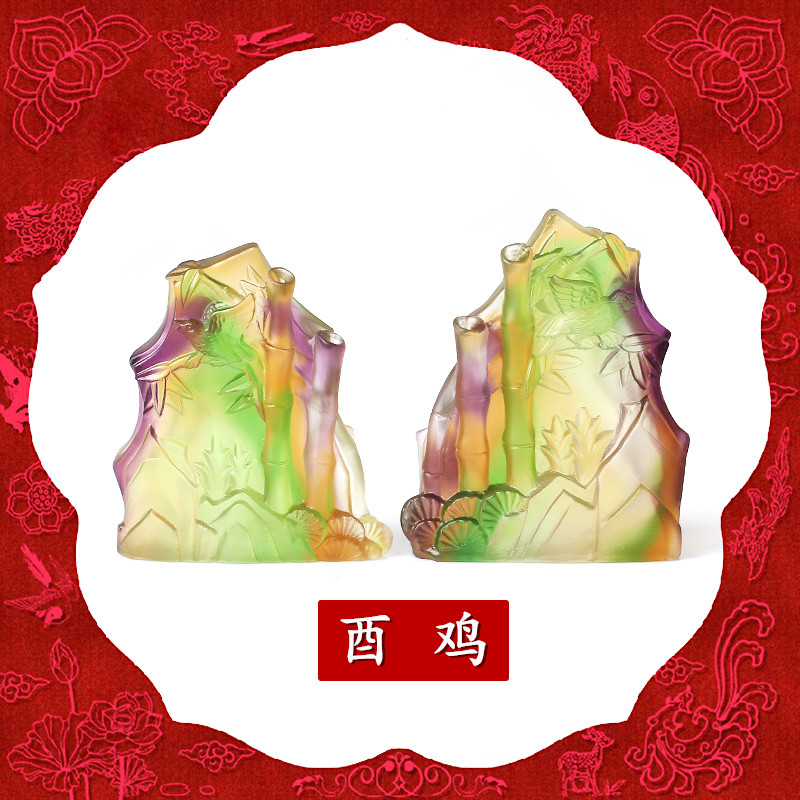 Wen jing ge opening twelve is a chicken mascot zodiac 2016 year of the monkey annunciation ruizhu ryukyu glass ornaments lucky gift