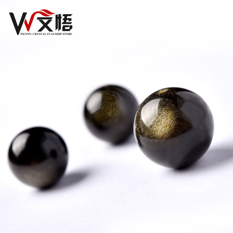 Wen wu gold obsidian obsidian beads diy semifinished loose beads natural crystal beads water semifinished materials