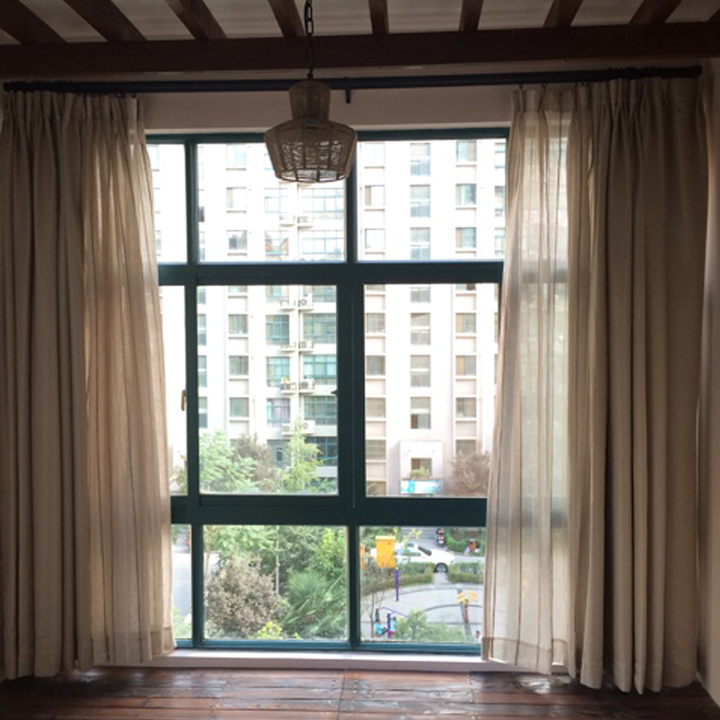 Were open solid minimalist living room curtains blackout fabric custom finished upscale modern windows * weave pattern