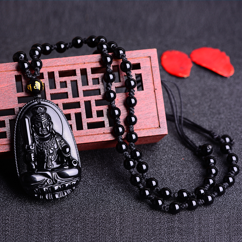 West east crystal opening obsidian pendant fudo is a chicken zodiac patron saint natal buddha necklace men and women