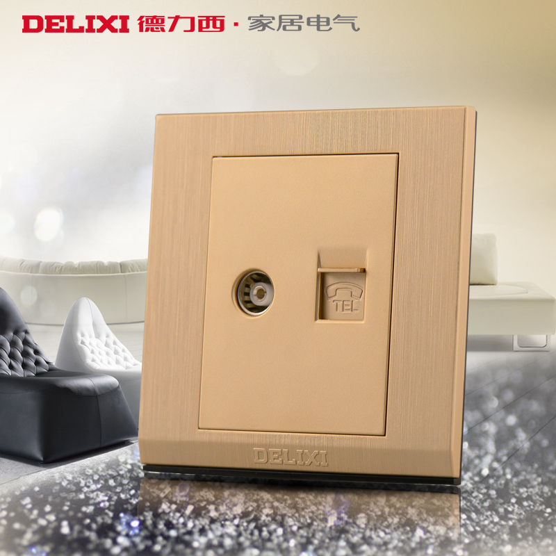 West germany 86 switch socket panel cd730 golden brushed steel closed circuit tv phone tv phone jack