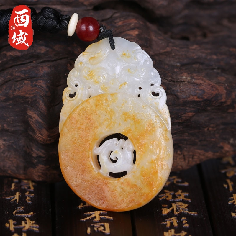 Western xinjiang seed material and nephrite jade dragon brand throwing leather 14 grams for men pendant pendant gift