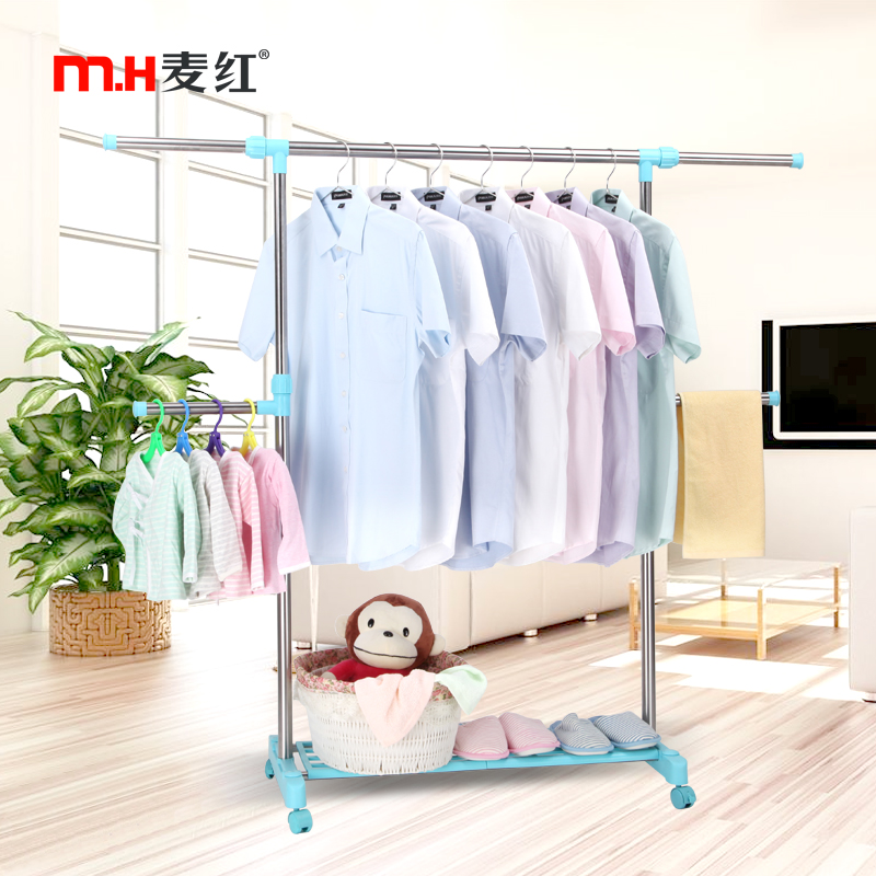 Wheat red clothes rack hanger floor bedroom clothes hanger rack single rod racks indoor drying rack stainless Steel drying racks