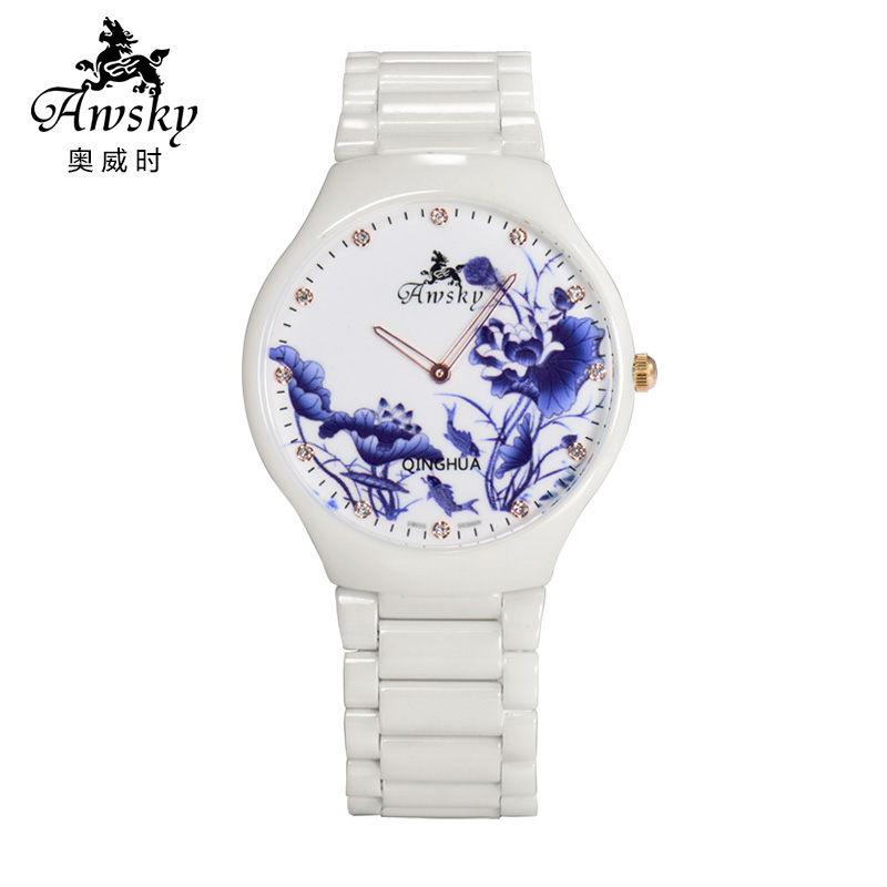 When aowei chinese style blue and white ceramic female form genuine quartz watch waterproof watch fashion watch ultrathin literary ms. table
