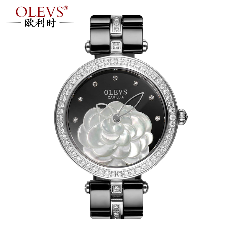 When orly (olevs) natural colored ceramic female form mother of pearl camellia vi