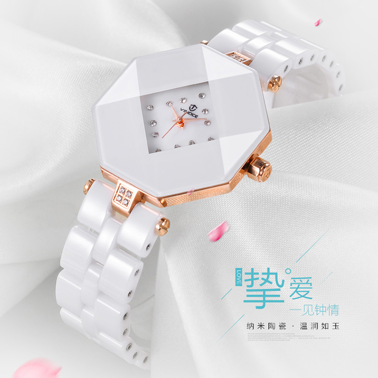 When winona authentic white ceramic watches female korean fashion trend quartz watch waterproof watch fashion female form a square section