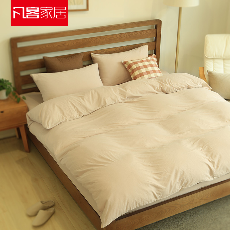 Where a guest bed li family of four naked tianzhu knitted cotton quilt cotton solid color sheets