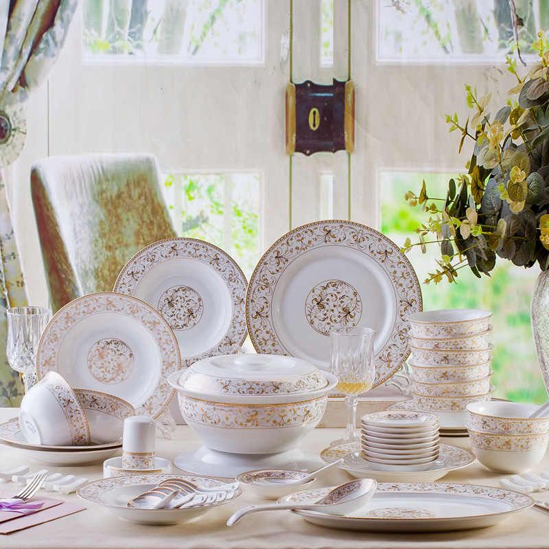 Where the 28/56 bone china tableware suits jingdezhen ceramic tableware korean creative home dishes dishes