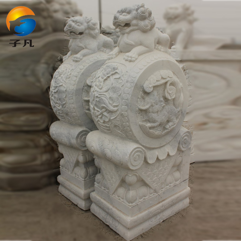 Where the sub cheap natural marble white marble stone carving stone lions holding drum mendun stone decoration MD181