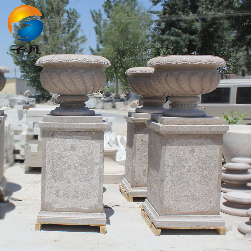Where the sub euclidian yellow rust stone sculpture stone carving granite stone water bowl flowerpot garden ornaments decorative HP04