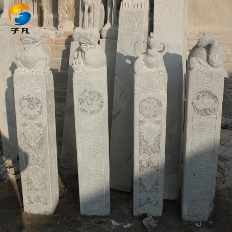 Where the sub genuine antique stone carving animal shuanma stone pillars four animal ornaments decorate the hallway SMZ18