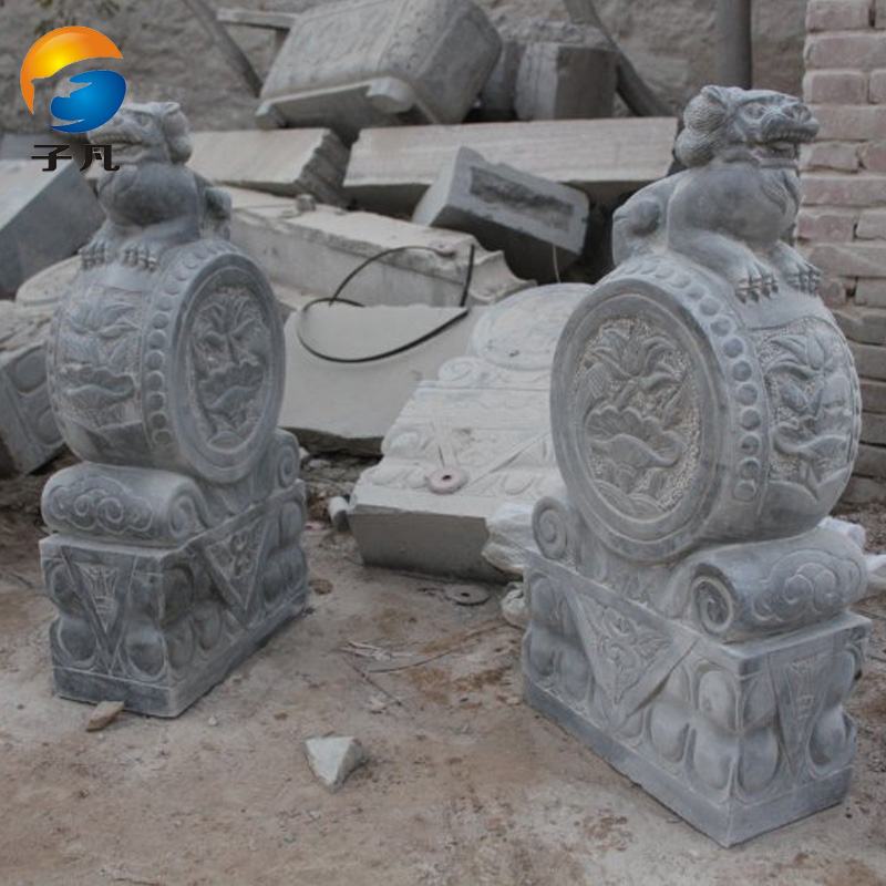 Where the sub genuine antique stone carving stone lions mendun natural bluestone stone lion holding drum stone MD197