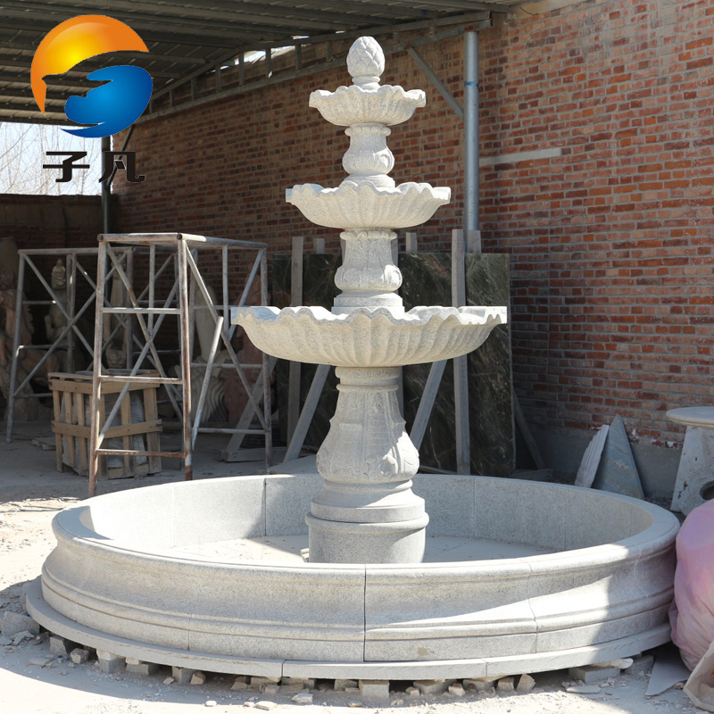 Where the sub white linen granite stone water fountain water garden landscape waterfall carved plastic ornaments waterscape pq20