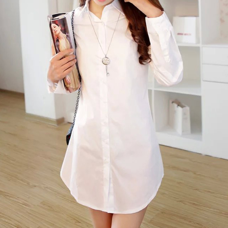 White cotton shirt female 2015 spring new korean slim and long sections bottoming shirt long sleeve shirt female literary