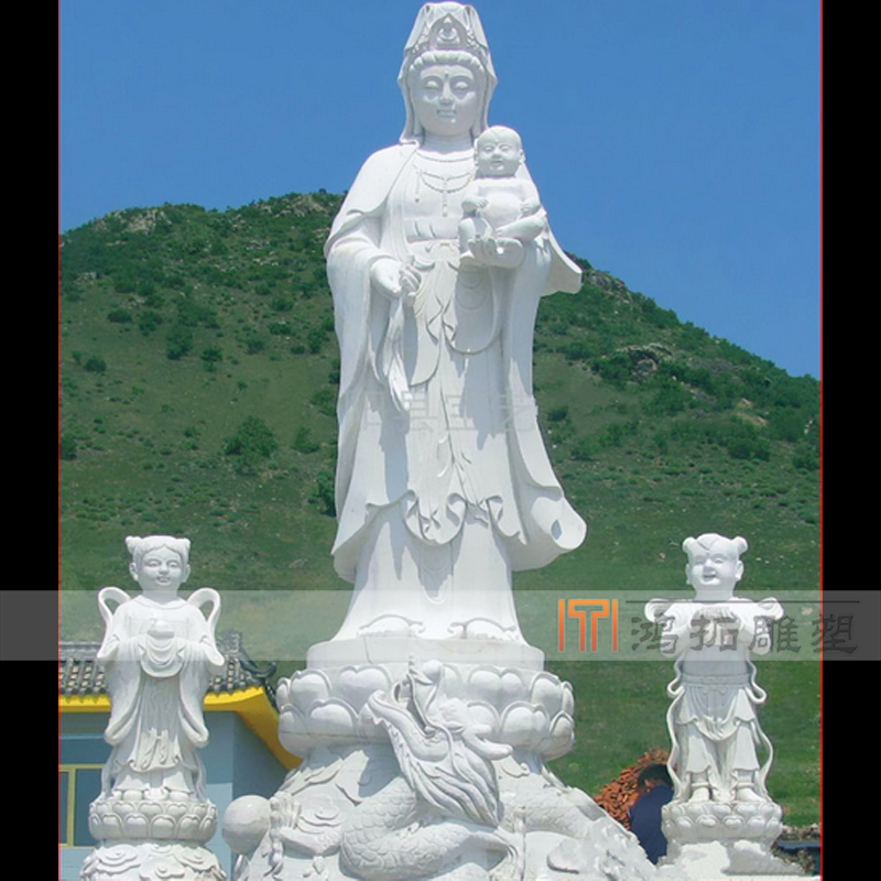 White marble stone carving station guanyin guanyin buddha temple large buddha sculpture custom customized MS777