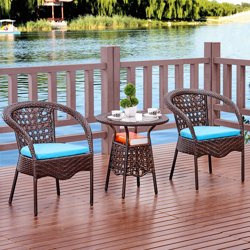 262814f56556 Get Quotations · White wicker chair balcony wicker chairs coffee table  three five pieces of wrought iron tables and