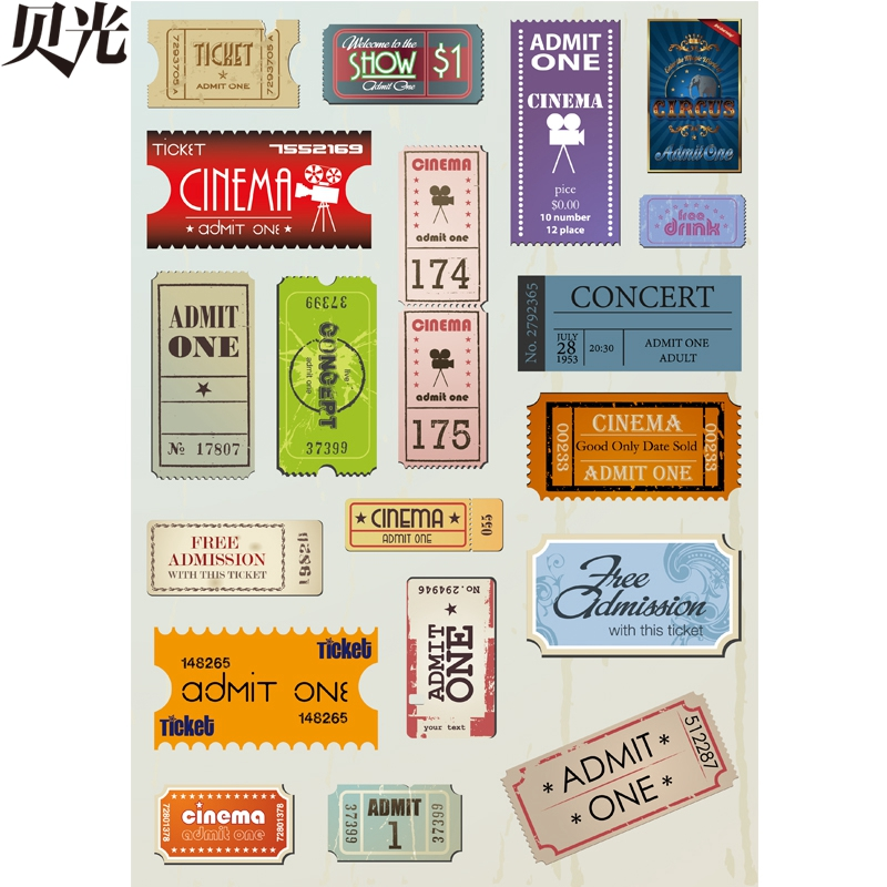 [Whole] tony light 13 vintage european and american ticket stubs and computer luggage suitcase stickers stickers dead fly slide plate Personality waterproof