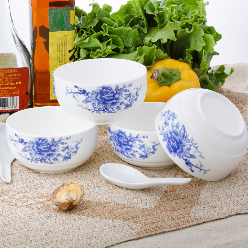 Wholesale blue and white porcelain bowl ceramic bowl bowl gift set bowl ceramic tableware rice bowl gift boxes installed 4