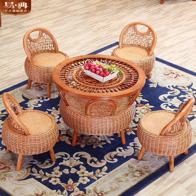 Wicker chair wujiantao casual outdoor wicker chairs coffee table three sets of natural rattan chairs rattan furniture rattan chair combination balcony