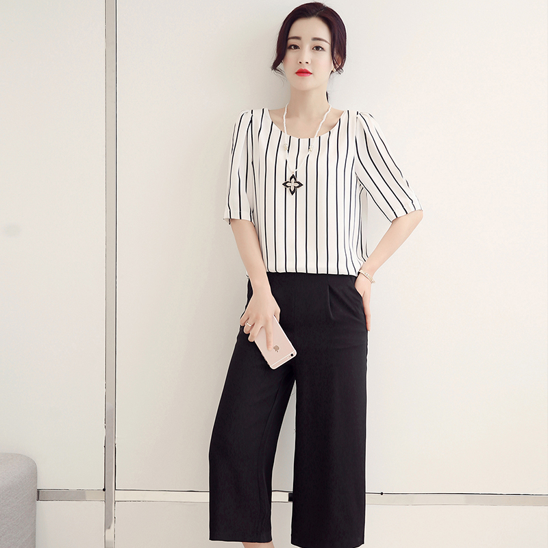 Wide leg pants suit female 2016 summer new female loose seven points slacks female female striped women in europe and america