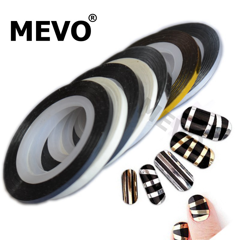 Widening bold mevo gold and silver nail adhesive stickers metal gold and silver black and white lines 3mm 2mm3mm