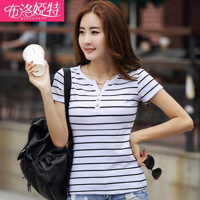 Wild summer women black and white striped t-shirt short paragraph tide slim v-neck was thin stripes bottoming short sleeve t-shirt