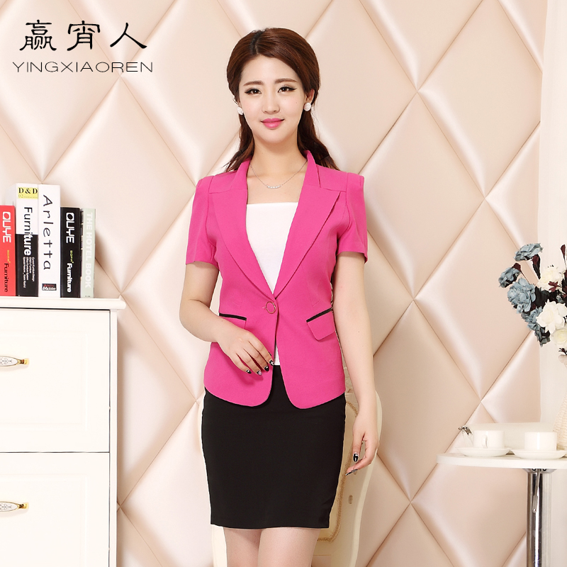 Win one night career skirt suits ol female summer short sleeve lapel korean women's career suits overalls beautician