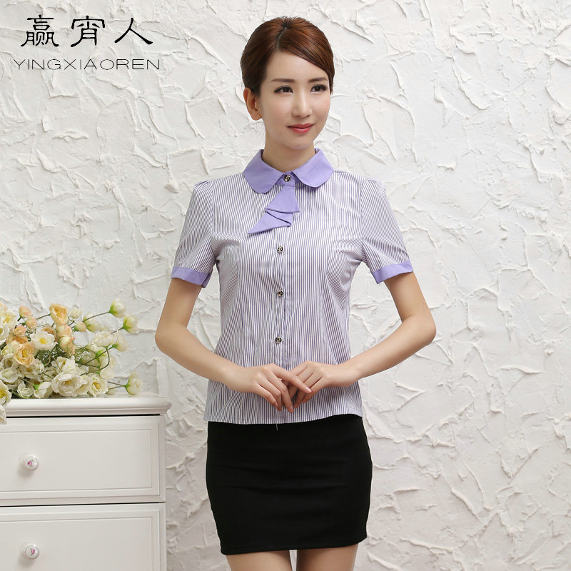 Win one night short sleeve shirt ol career ms. summer new striped shirt overalls interview suits hotel