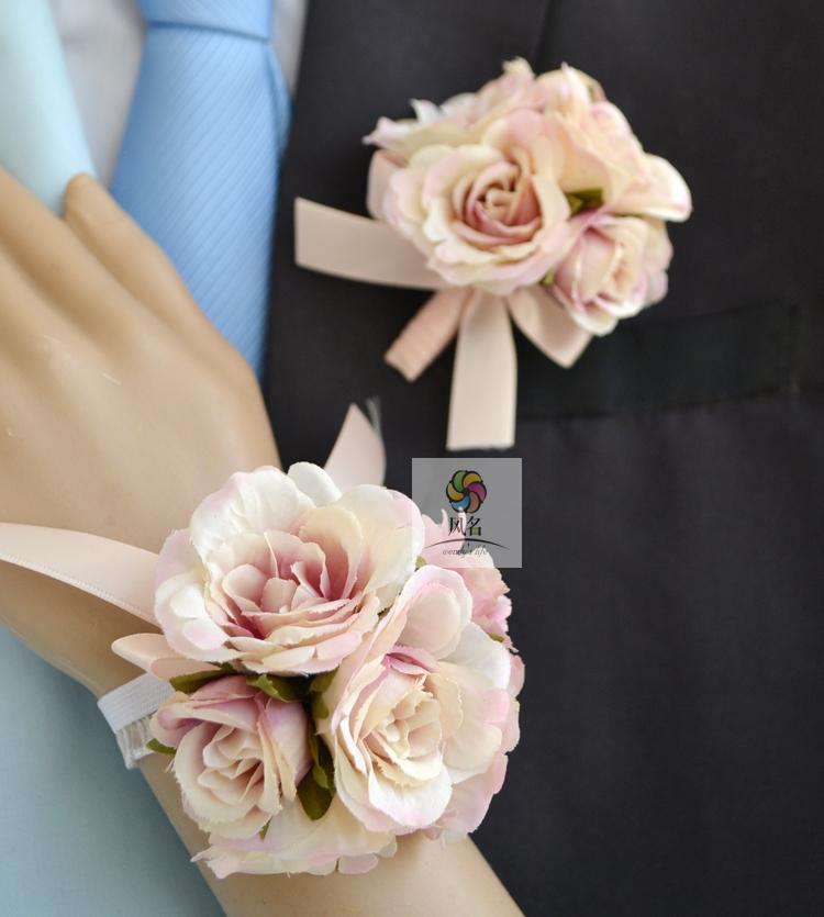 Wind name handmade artificial flowers wedding floral bride and groom wrist corsage flower corsages small multicolored roses