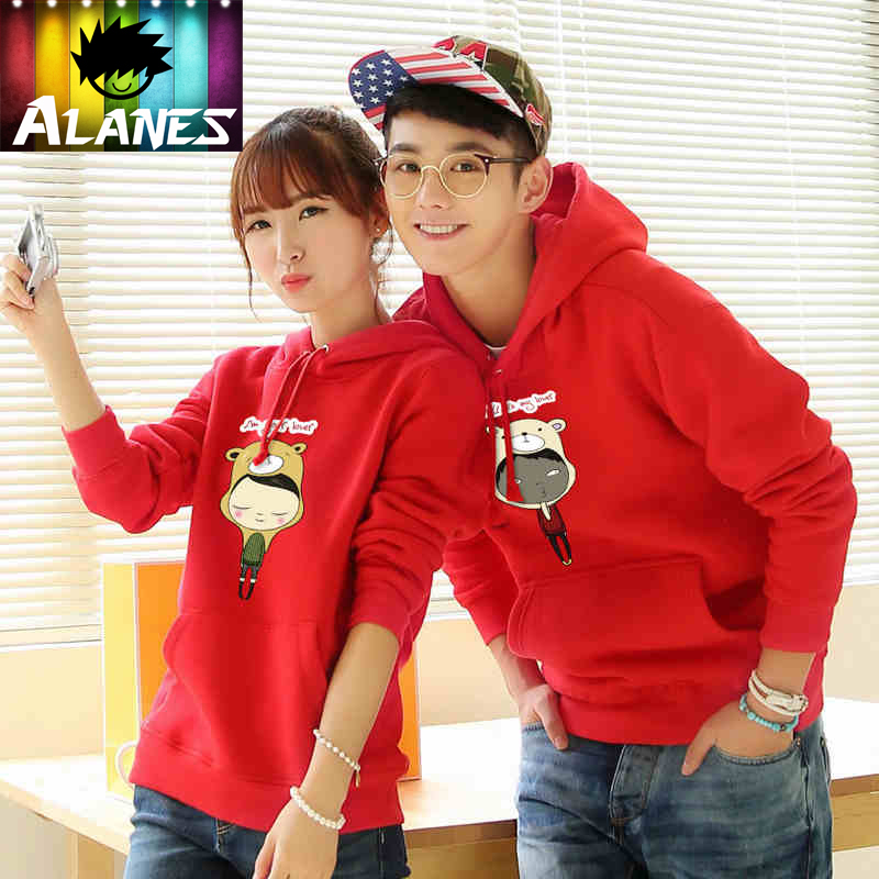 Winnie the couple fleece jacket female korean version of the influx of hedging hooded sweater jacket for men women ql lovers spring and autumn